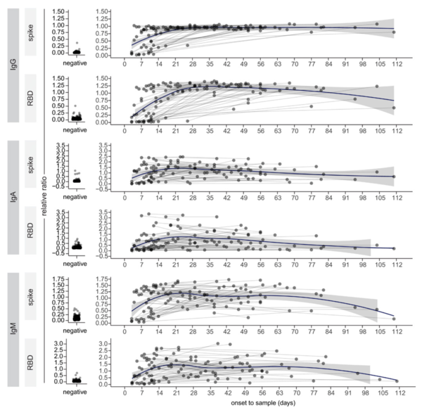 Persistence of serum and saliva antibody responses to SARS-CoV-2 spike antigens in COVID-19 patients (Science 2020.10.08)figure3.png